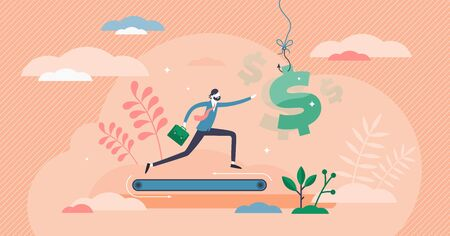 Greed concept, flat tiny person vector illustration. Businessman never ending running on a treadmill and trying to reach next level income. Emotional need for more financial wealth and fulfillment.  イラスト・ベクター素材