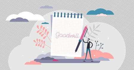 Goodwill concept, flat tiny person vector illustration. Handwritten notebook item with personal goal as intention to do good for other people as acts of kindness, charity, or donation activities.