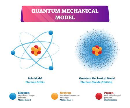 Quantenmechanische Modellvektorillustration Physikbeispiele. Negativ geladenes Elektron, Neutron und positiv geladenes Proton im Bohr-Modell als Elektronenbahnen und Quanten-Modell als Elektronenwolken.