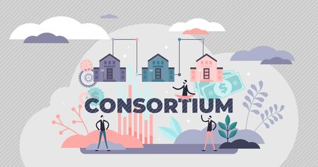 Consortium partnership strategy, flat tiny persons vector illustration. Achieving common goals by partnering up in association. Abstract business structure concept with letters and company buildings.