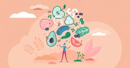 Flexitarian food culture movement, flat tiny person vector illustration. Healthy vegan or vegetarian diet combined occasionally with meat. Green,natural ingredients and nutrient source for good health