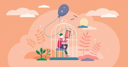 Lost childhood concept, flat tiny person vector illustration. Lonely kid inside the cage of the digital entertainment. Lack of activity and spending passive time indoors.Socially isolated young person