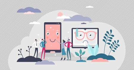Phone VS book competition, flat tiny persons vector illustration. Modern human media and information consumption habits. Digital entertainment popularity trend and turning away from classical ways.