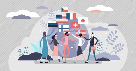 Nationalism concept, flat tiny person vector illustration.Globalisation and diverse cultural variety. Independence,patriotism and love for native land.Respect for other nations.Diplomacy and politics. Ilustracja