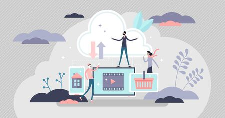 Cloud computing concept, flat tiny person vector illustration. On demand data storage database and server work power. Modern online infrastructure system. E-commerce, smart home or entertainment media Иллюстрация