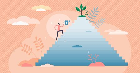Zeal concept, flat tiny person vector illustration. Enthusiastic determination on the way to success. Putting in hard work and energy for reaching goals and growth. Courage and competitive attitude.