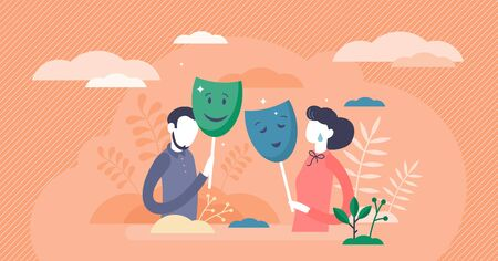 Masking true feelings concept, flat tiny persons couple vector illustration. Face expressions in relationship communication. Fake social identity and hiding inner personality traits. Human masquerade.