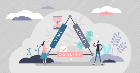 Time, money and quality triangle, tiny person vector illustration. Abstract interconnected commerce properties. Market niche strategy and planning. Customer expectations for the service or product.