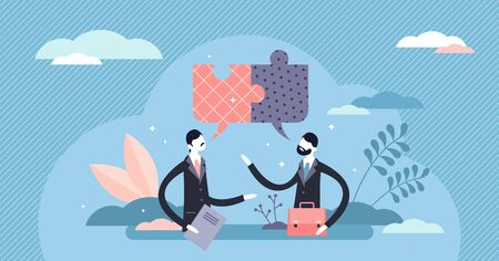 Conversation and arranging agreement concept, flat tiny person vector illustration. Stylized puzzle speech bubbles. Business discussion and consultation about work contract conditions. Good teamwork.