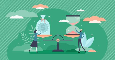 Time and money value concept, flat tiny person vector illustration. Evaluating time investment versus earnings. Cash growth and life balance decisions. Human world view values and finance management. Vektorové ilustrace