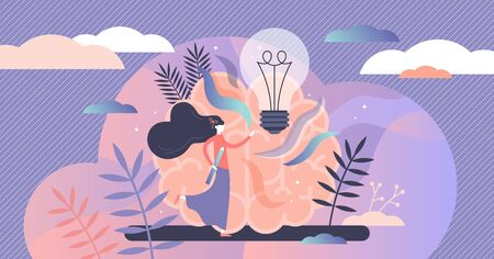 Creative abstract brainstorming concept, flat tiny person vector illustration. Female artist in the imagination and innovation vision process. Stylized light bulb symbol and thinking brains.