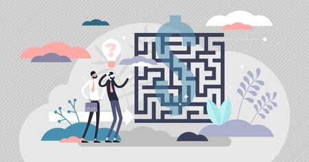 Business maze concept, flat tiny person vector illustration. Abstract labyrinth puzzle symbol with confused businessman. Solving problems and deciding strategy plan direction. Goal to find solution. Vettoriali