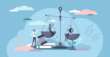 Justice concept, tiny persons vector illustration. Weights and lawyer hammer symbol. Equality and freedom measurement with persons sitting on scales. Social protection and punishment system balance.