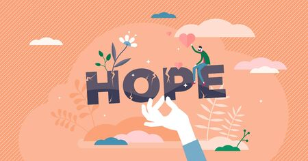 Hope concept, flat tiny person vector illustration. Believing in better future and holding faith. Positive vision mind set and inner strength. Attitude for life. Scene with man holding heart symbols.