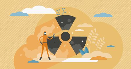 Radiation concept, flat tiny person vector illustration. Abstract nuclear toxic waste scene with worker in radioactive protection suit. Hazardous danger risk, black symbol on a yellow background.
