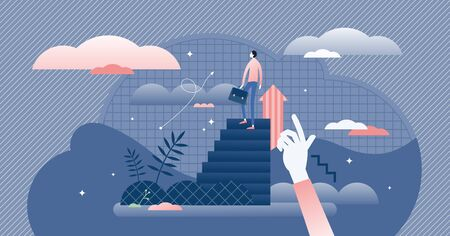Business steps and career growth concept, flat tiny businessman person vector illustration. Work progress vision and reaching professional life top goals. Abstract upward innovation progress path. Illustration