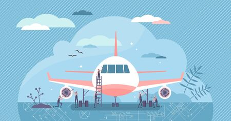 Aerospace engineer vector illustration. Maintenance workers flat tiny persons concept. Service work with civil or cargo airplane. Fuselage and turbine check as industrial occupation daily scene. Illustration