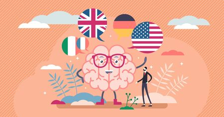 Learning language vector illustration. Speech education flat tiny persons concept. Linguistic online course with abstract brain development scene for international foreign english, german etc teaching