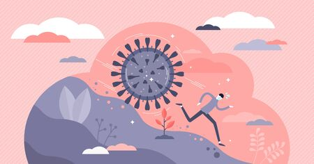 Covid-19 virus attack vector illustration. Coronavirus prevention tiny persons concept. Metaphoric scene with running away from epidemic health danger. Deadly disease transmission outbreak prevention. Illustration