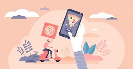 Home food delivery service concept, flat tiny person vector illustration. Online mobile app pizza ordering from local restaurant. Catering industry crisis strategy and adapting for global change.