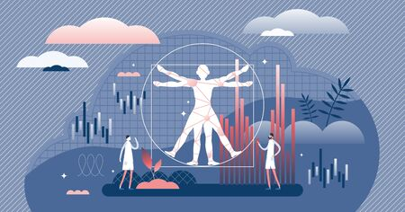 Biostatistics flat tiny person concept vector illustration. Study of development and application of statistical method for biology elements. Experiments results data collection, gathering and analysis