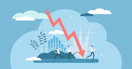 Crashing graphic vector illustration. Bankruptcy flat tiny persons concept. Covid-19 coronavirus pandemic caused economical crisis and stock money collapse. Abstract businessman panic in economy fail.