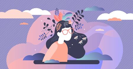 Mental health vector illustration. Psychological mind emotional balance and confidence. Artistic abstract creative thinking visualization. Intellectual wisdom power and symbolic spiritual thoughts. Ilustración de vector