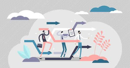 Business reorganize vector illustration. Company change in flat tiny persons concept. Progress and development strategy readjustment in unstable market situation. Workplace management teamwork process Illustration