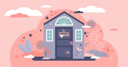 Stay home vector illustration. Scared human in house flat tiny person concept. Corona virus Covid-19 transmission risk prevention by not going outside. Dangerous microbe environment health protection.