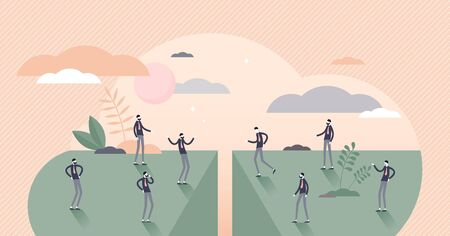 Divided people vector illustration. Social community separation tiny persons concept. Split population and polarize crowd with stereotypes unequal income and opinion. Abstract problem visualization.