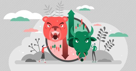 Bears vs bulls vector illustration. Stock market flat tiny persons concept. Animals compared and fighting as economical trade strategy symbols. Investor and speculator value growth graphic with arrows