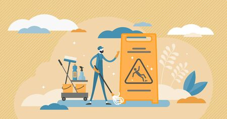 Janitor vector illustration. Cleaning occupation flat tiny persons concept. Work as professional sanitary employee. Trash and dirty service to wash floors with mop. Hygiene cleanup and sterile labor.