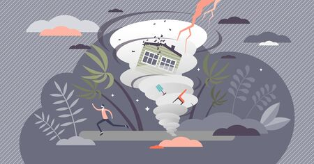 Hurricane vector illustration. Tropical cyclone flat tiny persons concept. Dangerously strong whirlpool wind and lightening storm. Nature disaster and house destruction scene. Meteorological overcast.