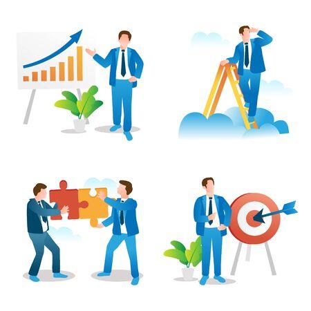 Présentation de l'entreprise, vision du leadership, travail d'équipe et collection de concepts d'établissement d'objectifs. Ensemble d'illustrations vectorielles spot. Planification des jalons de croissance d'une entreprise en démarrage et tactiques de gestion du travail d'équipe.