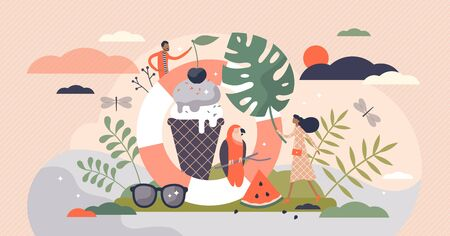 Summer vector illustration. Hot season symbols flat tiny persons concept. Abstract vintage style elements associatively with warm weather time of year. Ice cream, sunglasses, sundress collection.