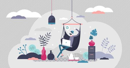Remote work vector illustration. Work from home flat tiny persons concept. Lifestyle with modern distance job as business outsource solution. Hipster workspace with chill and creative atmosphere scene