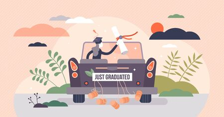 Graduation celebration concept, tiny person vector illustration. Getting college or university diploma and enjoying freedom. Successful student with certificate in hands riding with a car into sunset. 向量圖像