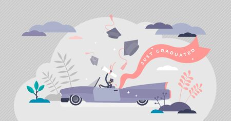 Graduation celebration concept, flat tiny person vector illustration. Getting college or university diploma and enjoying freedom. Happy and successful student in a car with a certificate in hands.