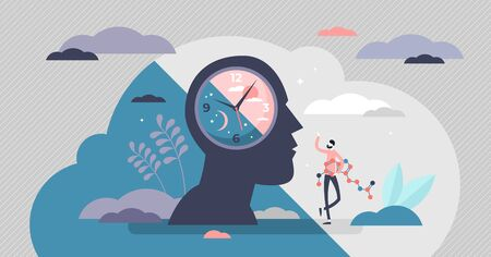Circadianes Rhythmuskonzept, winzige Personenvektorillustration. Tag- und Nachtzyklusschema. Täglicher Zeitplan für die innere Regulierung des menschlichen Körpers. Natürlicher biologischer Schlaf-Wach-Prozess. Abstrakter Kopf mit einer Uhr.