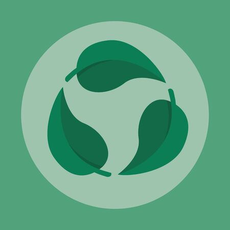 Green leaf recycle symbol vector illustration. Reusable cycle visualization for environmental zero waste nature friendly lifestyle. Planet pollution and carbon reduction.