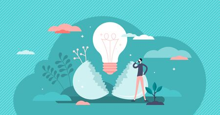 Hatching idea vector illustration. Creative new strategy born process flat tiny persons concept. Success business innovation symbol as egg shell cracking and light bulb birth metaphoric visualization. Ilustrace