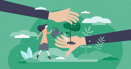 Save planet vector illustration. Tree planting flat tiny persons concept. Forestation as environment support and climate help. Green sustainable lifestyle and ecosystem care with natural resources. Ilustrace