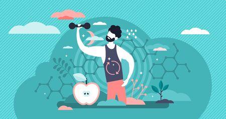 Illustration vectorielle de métabolisme masculin. Nourriture à l'énergie processus plat concept de personnes minuscules. Nutrition réactions chimiques dans la synthèse de l'organisme. Tube digestif de l'homme abstrait et processus alimentaire de biochimie.