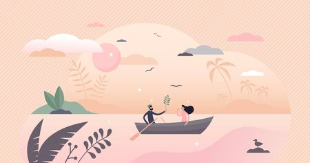 Couple in boat vector illustration. Romantic date flat tiny persons concept. Summer outdoor sunset leisure activity. Symbolic privacy, discretion and isolation visualization with quiet place for pair.
