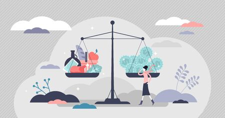 Inflation vector illustration. Economical money worth loss flat tiny persons concept. Abstract financial situation reflection with scales. Goods and services costs more value. Unstable market weights.