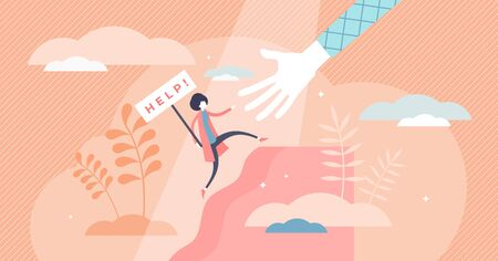 Female help vector illustration. Woman safety care flat tiny persons concept. Symbolic sign with ask for support in problem frustration moment. Reaching for assistance after bankruptcy or fear emotion Ilustração