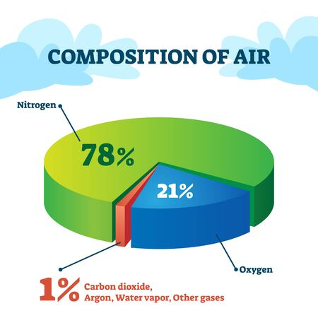 Composition of air vector illustration. Gas structure educational scheme with separated pie percentage parts. Nitrogen, oxygen, carbon dioxide and argon as atmosphere constituent substance explanation Vettoriali