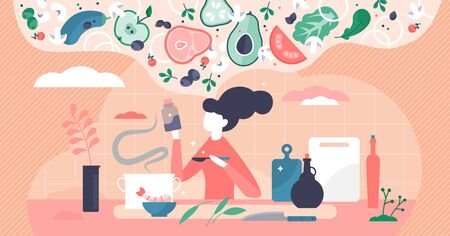 Cooking vector illustration. Woman thinking new recipe flat tiny person concepts. Creative gastronomy and culinary process with vegetables, tastes and ingredients mixing for delicious and healthy meal Vettoriali