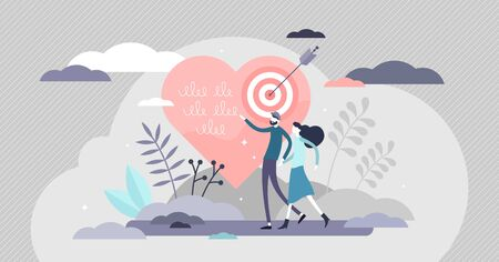 Relationship goals vector illustration. Couple life target achievement flat tiny persons concept. Abstract scene with heart and arrow in bullseye as symbolic marriage and love success visualization.