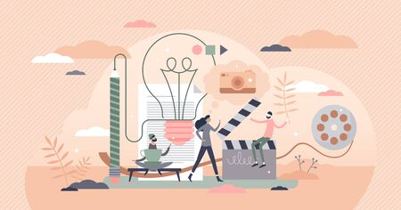 Creative work vector illustration. Artistic mood flat tiny person concept. Free casual professional atmosphere in marketing, cinema, production industry. Project idea in workplace as hipster lifestyle